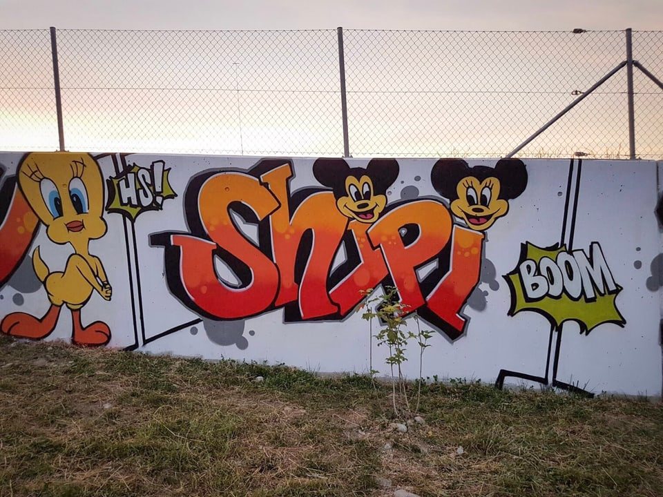 Leider gibt's keine Noten: Die Graffiti der Kids können sich sehen lassen