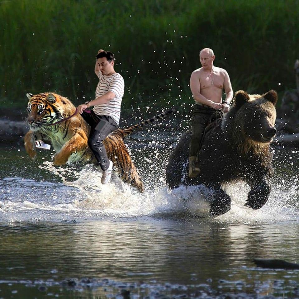 Gefälschtes Bild: Jonas Bayona reitet auf einem Tiger neben Wladimir Putin auf einem Bären.