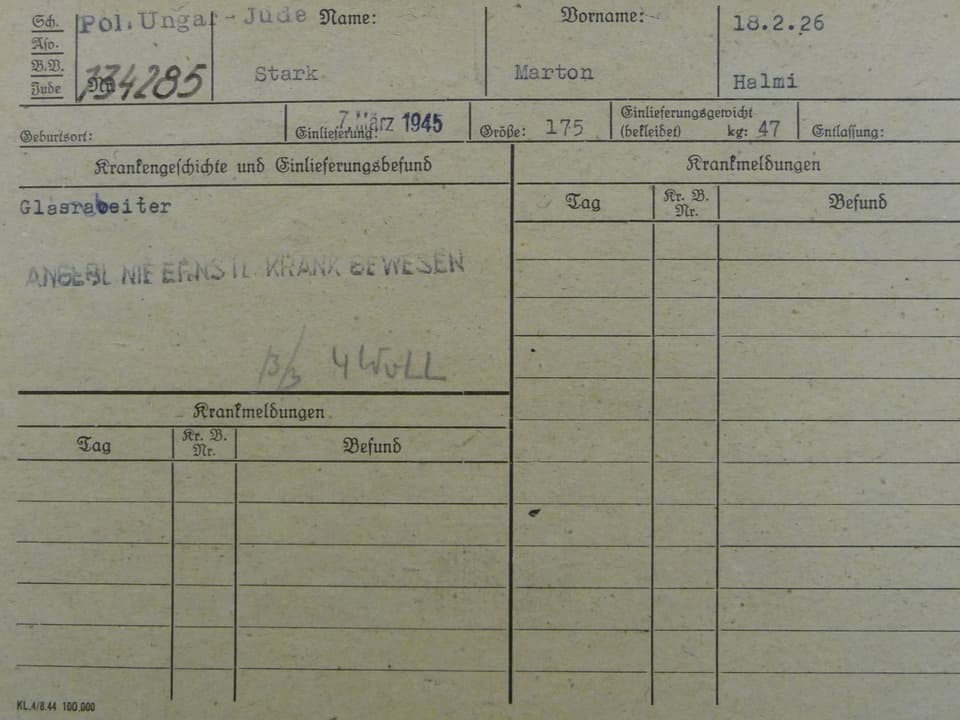 Krankenkarte Marton Starks aus dem KZ Gross-Rosen.