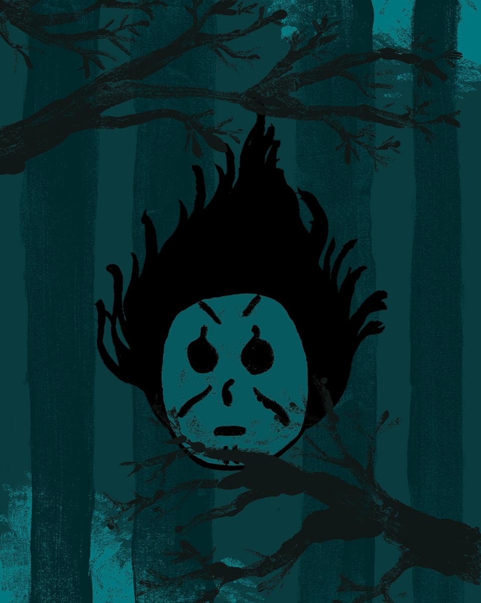 Ein Totemügerli mit schwarzen Haaren vor blau-grünem Hintergrund.