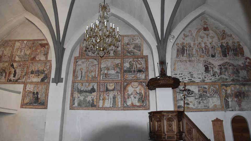 Trais artgs en la baselgia catolica a Tumegl, picturads da Hans Ardüser.