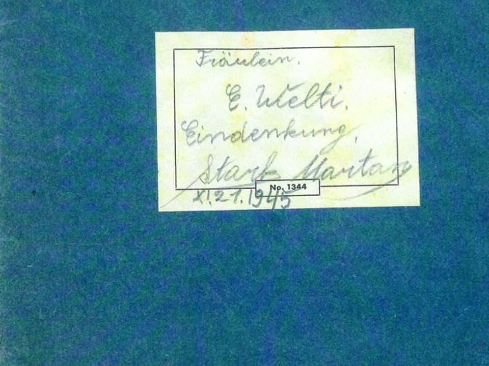 Deckblatt des Originalhefts mit handgeschriebener Vignette