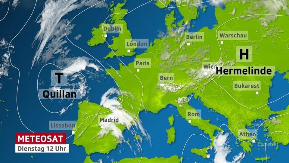 Satellitenbild von Dienstagmittag