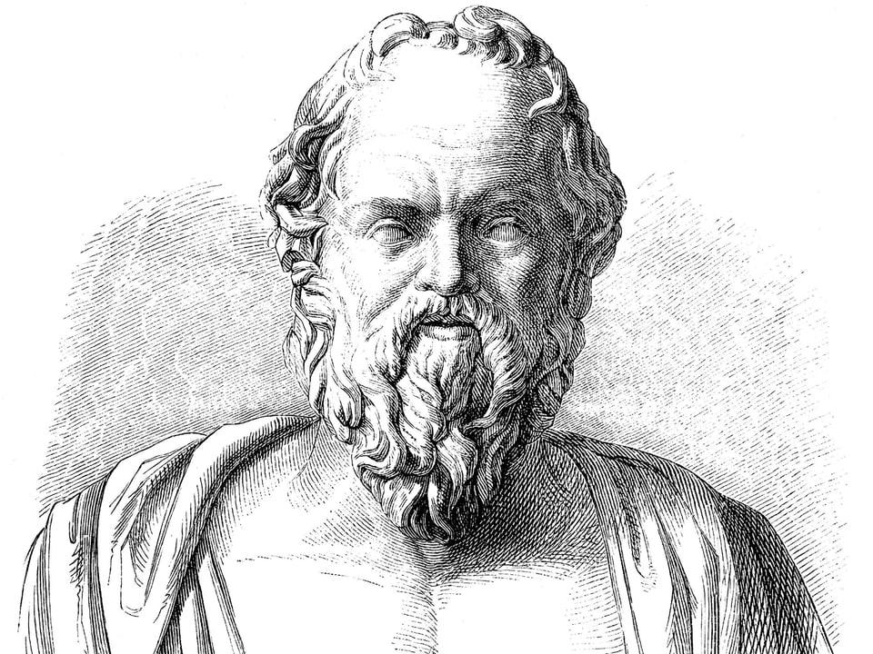 Schwarzweisszeichnung des griechischen Philosophen