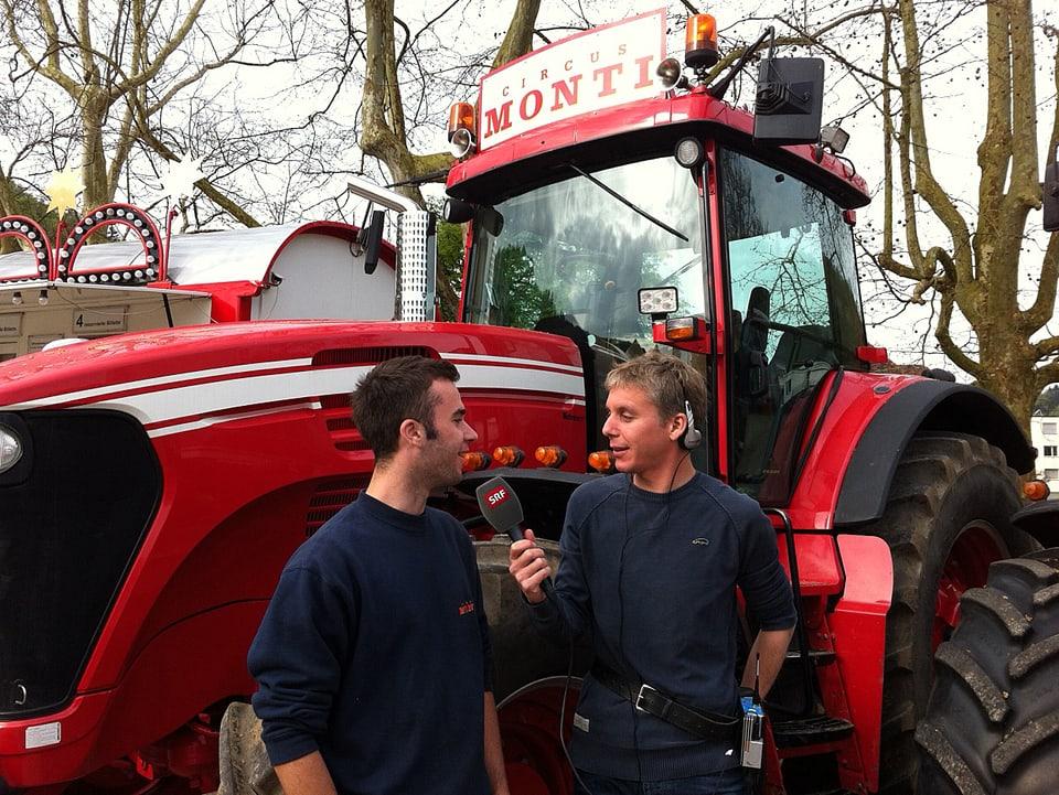 Interview vor Traktor.