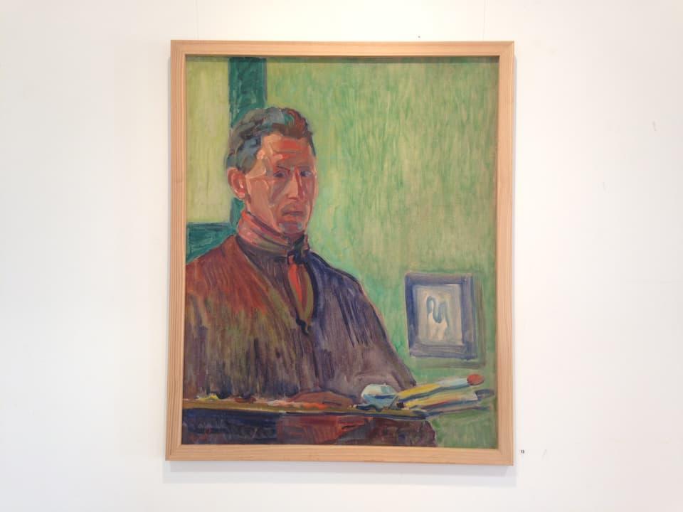 Exponat da vesair enfin mez settember en la Chesa Planta: Turo Pedretti – «autoportrait cun paletta» (1945).