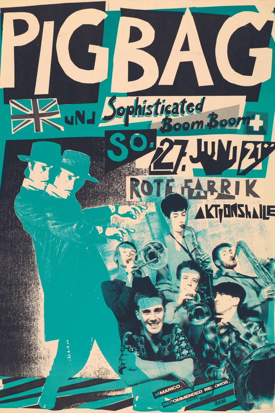 Konzertplakat der Band Pig Bag