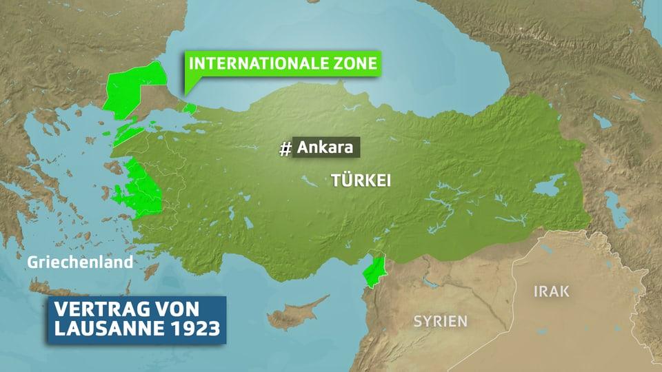 Karte Türkei gemäss Vertrag von Lausanne