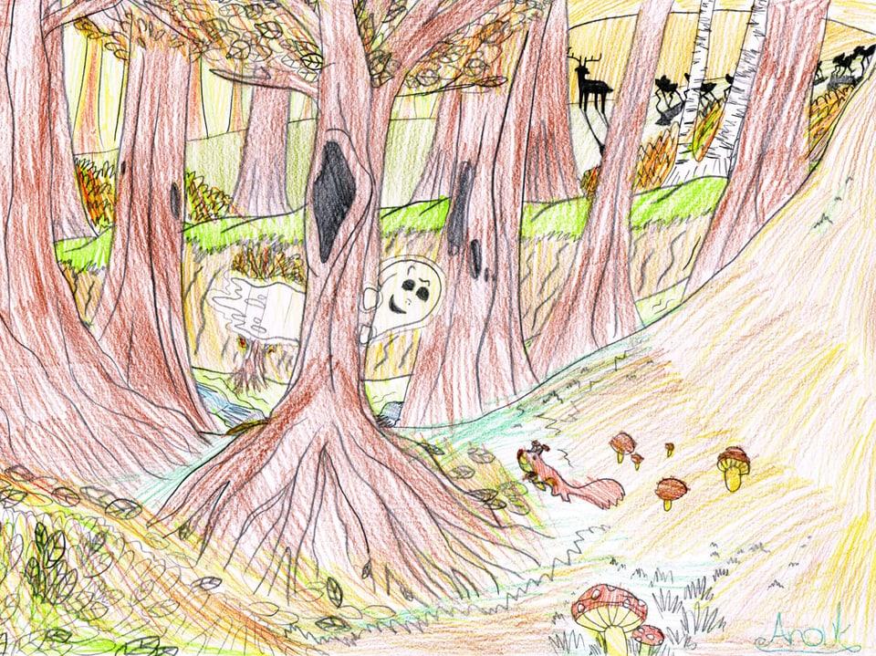 Eine Kinderzeichnung zeigt das Totemügerli im Wald.