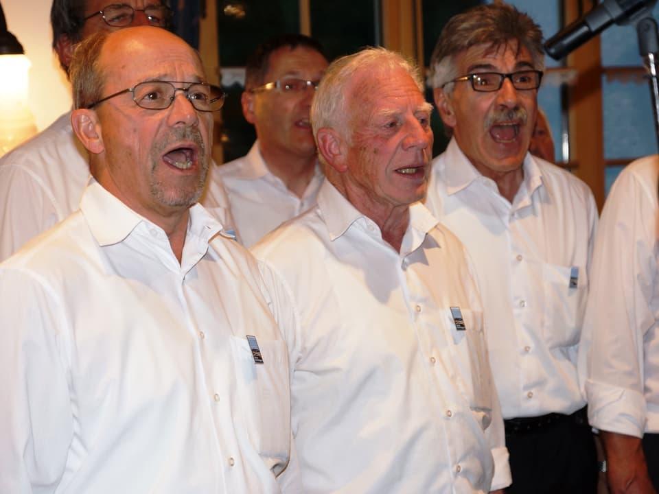 Eine Gruppe von Sängern in weissen Hemden beim Singen.