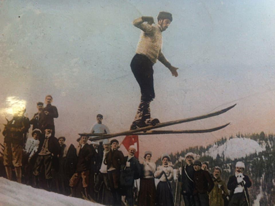 Ein Skispringer der Frühzeit.