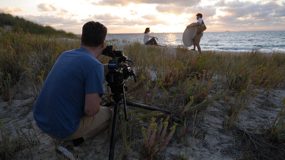 Aufnahmen für das Signet-Bild am Strand von Perth.