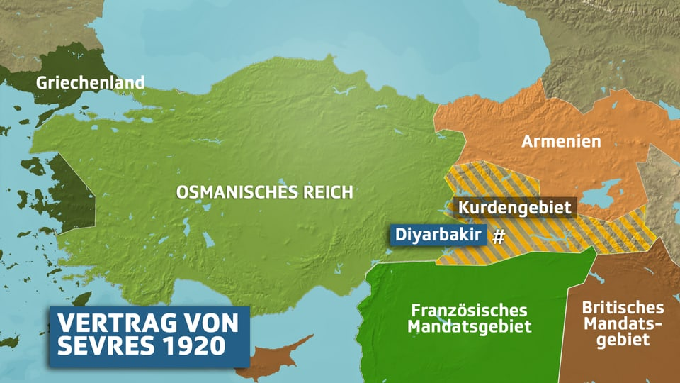 Karte der Gebietsaufteilung gemäss Vertrag von Sèvres