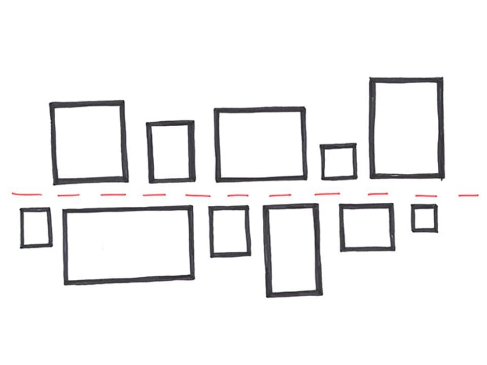 Skizze mit einer waagrechten Linie. Oberhalb und unterhalb der Linie sind die Bilder angeordnet.