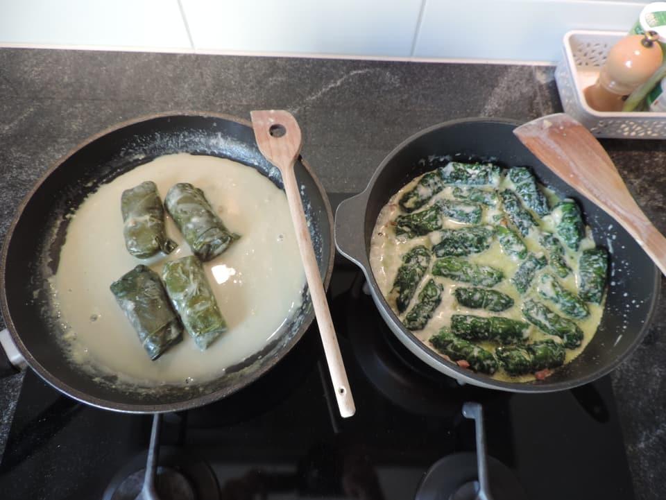 Duas differentas cazzettas cun capuns sin platta.