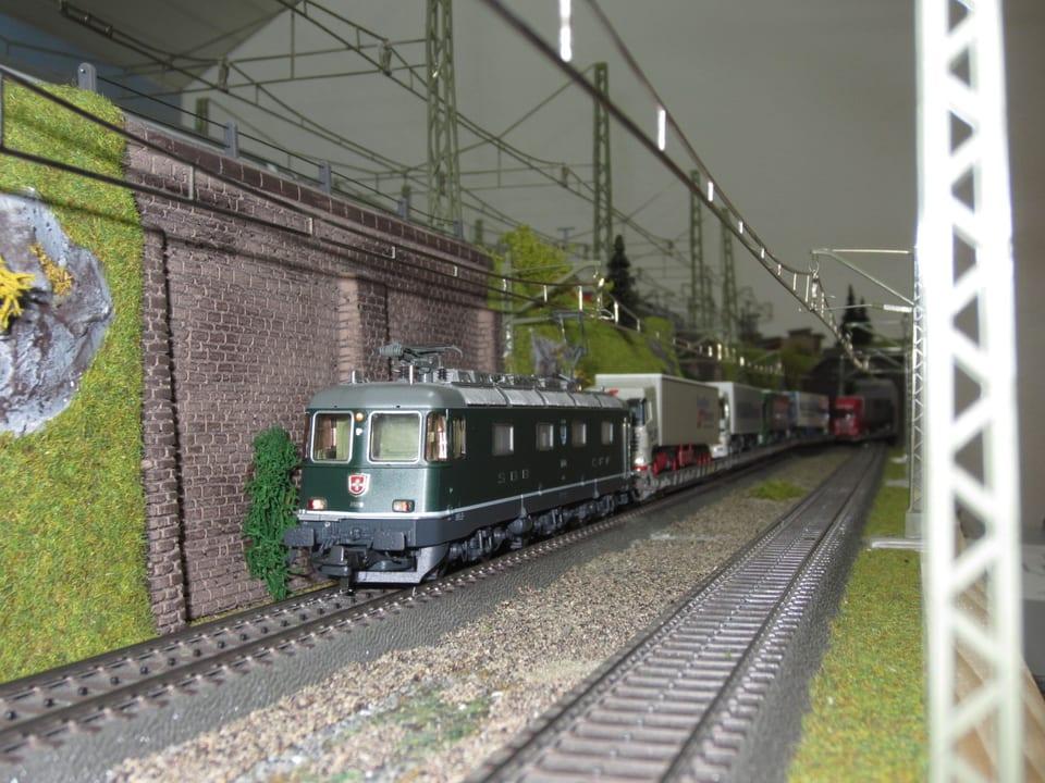 SBB Güterzug fährt an mit Efeu bewachsenem Mauerwerk vorbei.