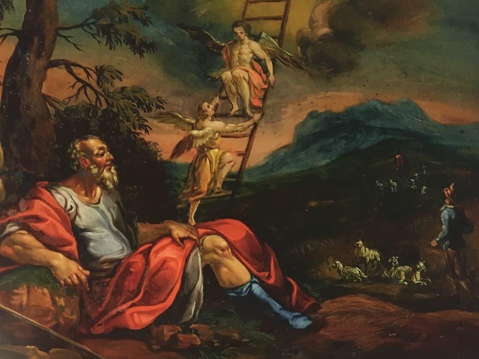 In maletg vegl biblic cun Jacob ed anghels che van sin ina stgala vers il tschiel.