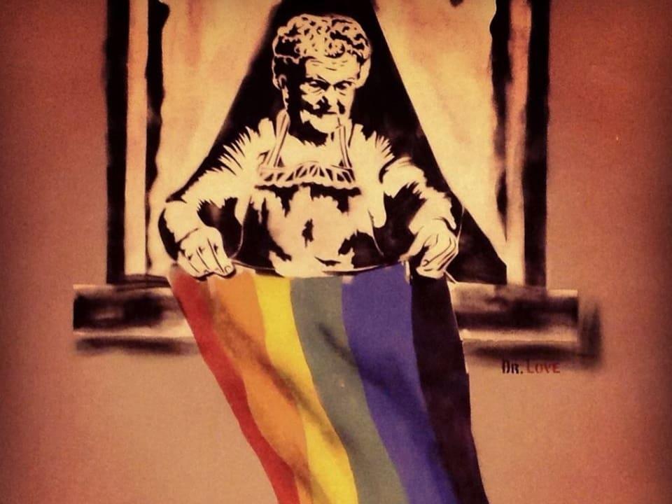 Fertig ist das Kunstwerk: Bacha will mit damit auf die Rechte von Schwulen und Lesben in Georgien aufmerksam machen. Die werden im streng orthodoxen Land noch immer mit Füssen getreten.