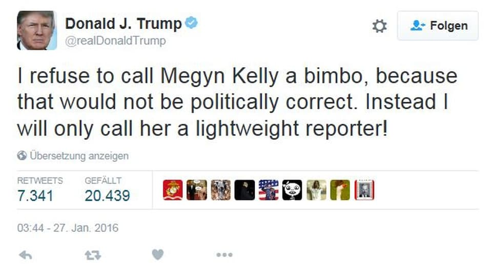 Donald Trump über Megyn Kelly, Moderatorin bei Fox TV, die ihm Frauenfeindlichkeit vorgeworfen hatte