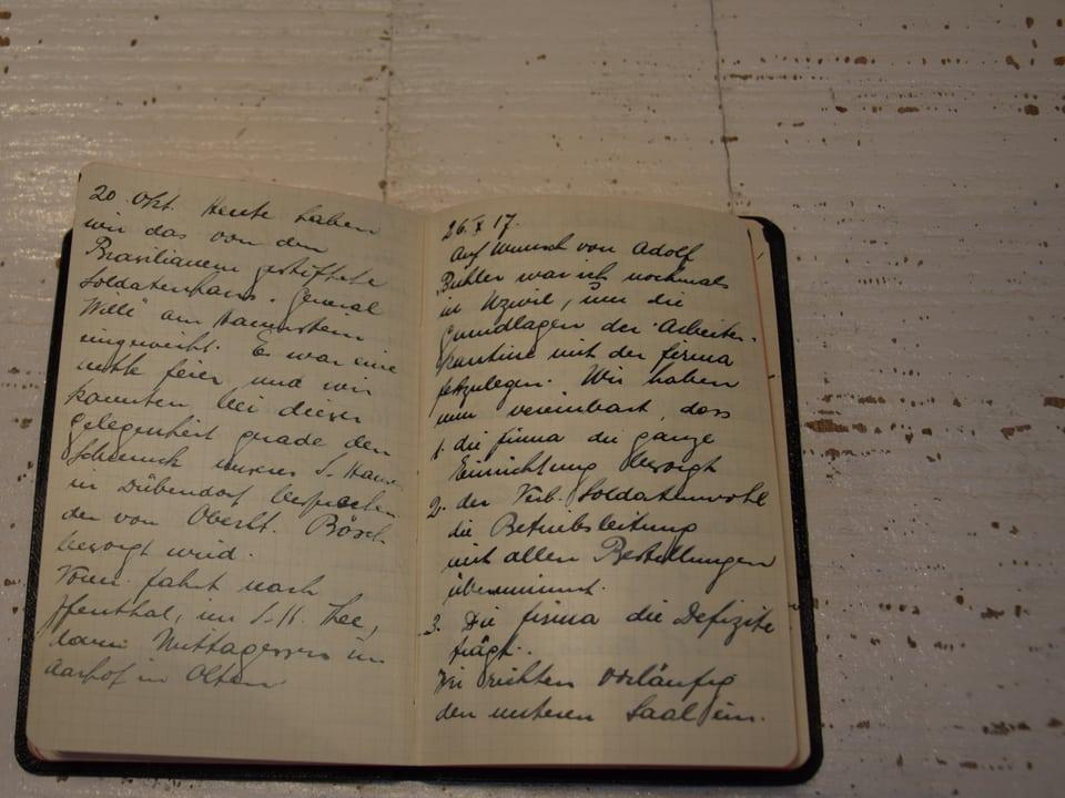 Blick ins geöffnete Tagebuch von Else Züblin-Spiller