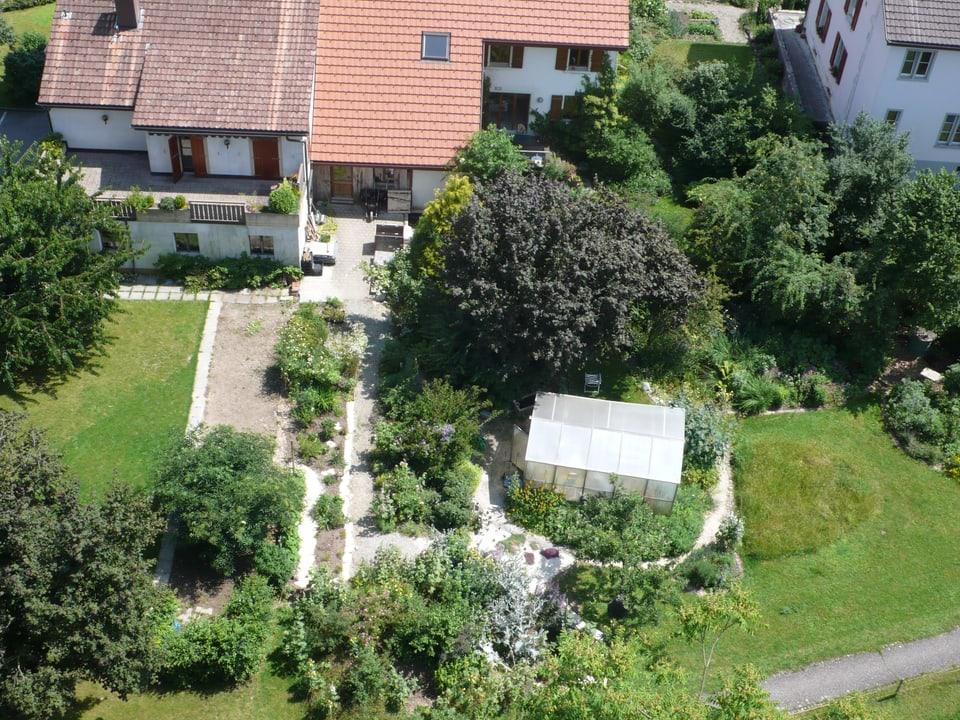 Blick von oben auf Garten