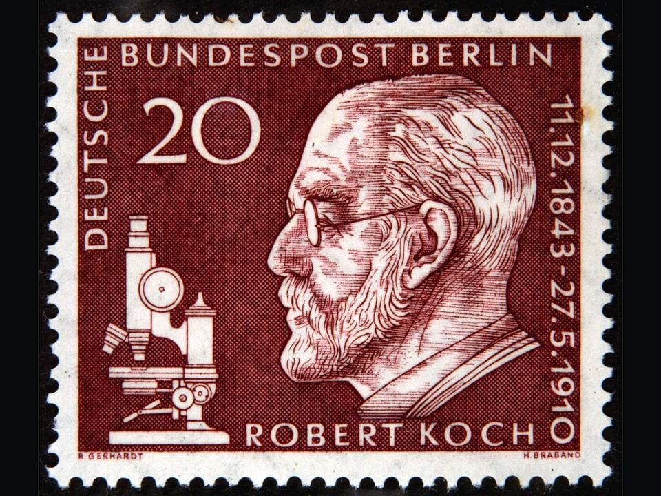 Briefmarke mit dem Portrait von Riobert Koch.
