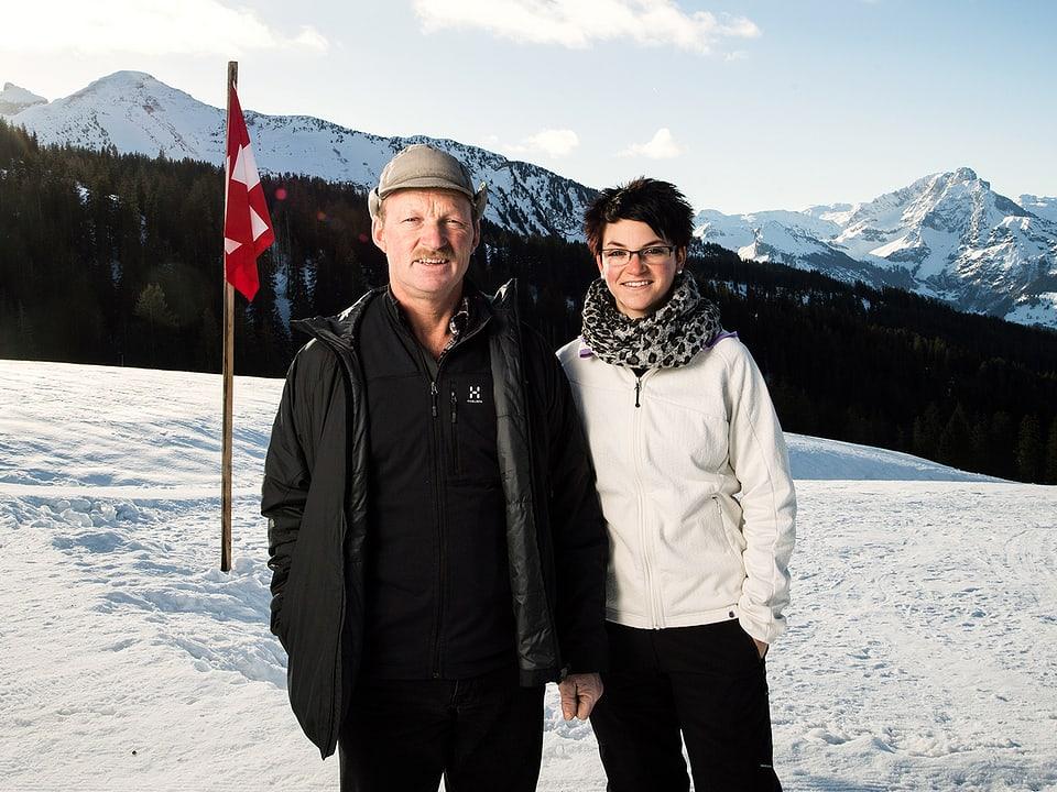 Werner und Silvana Gmür im Schnee.