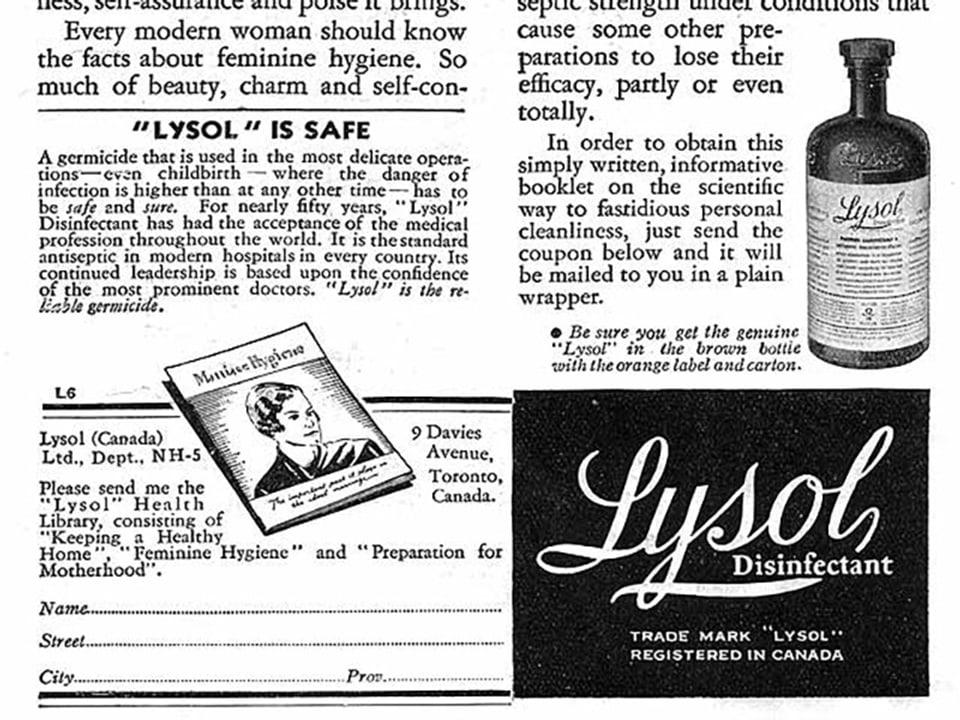 Alte Zeitungsannonce mit Abbild einer Flasche