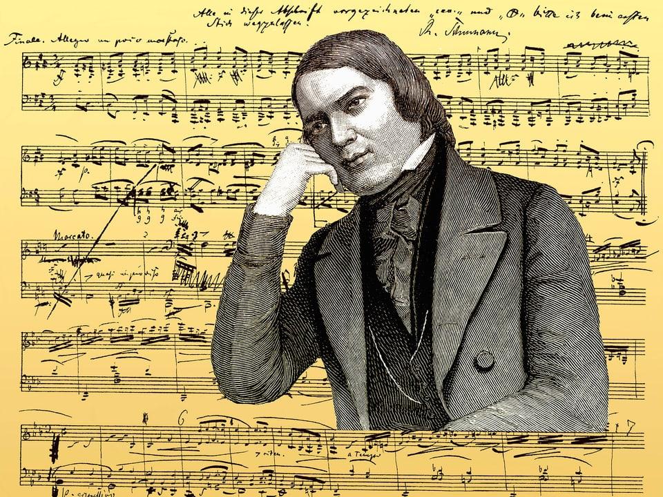 Schwarzweisszeichnung des Komponisten vor einem Notenblatt mit einer Sonate Nr. 1 Opus 2