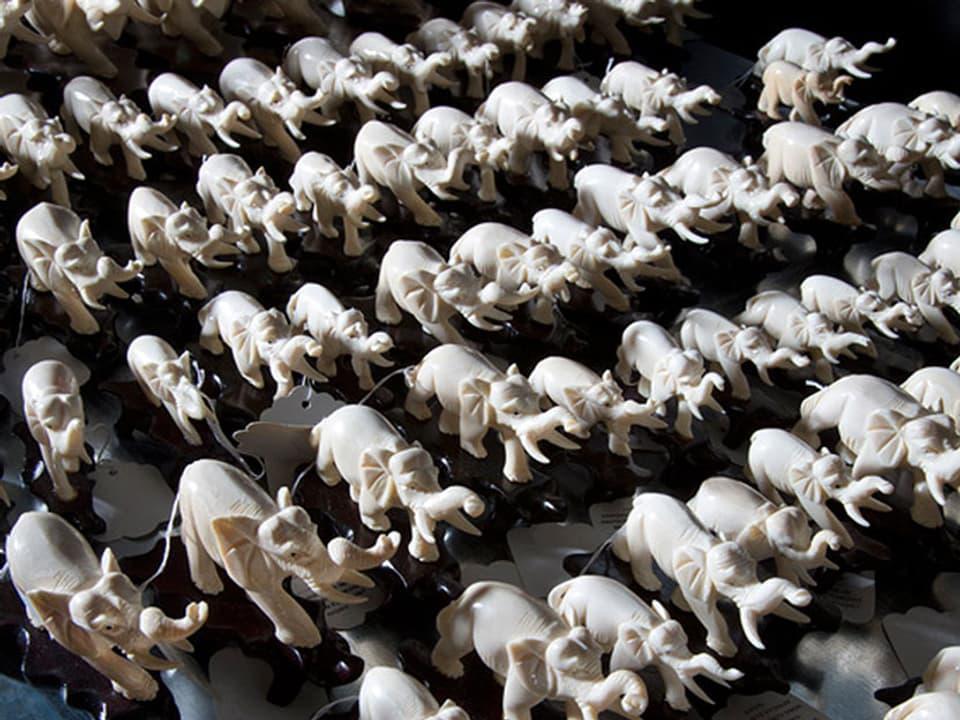 Verschiedene aus Elfenbein geschnitzte Elefanten.