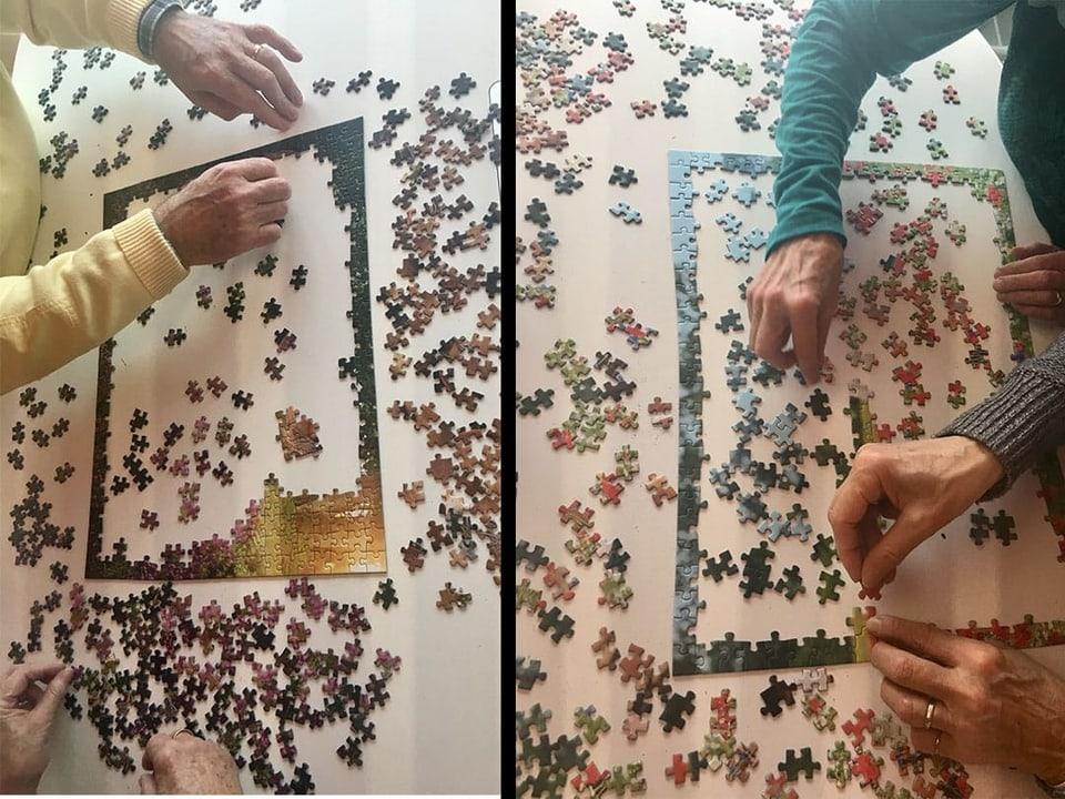 Rand vom Puzzle mit mehreren Teilen im Innern des Puzzles
