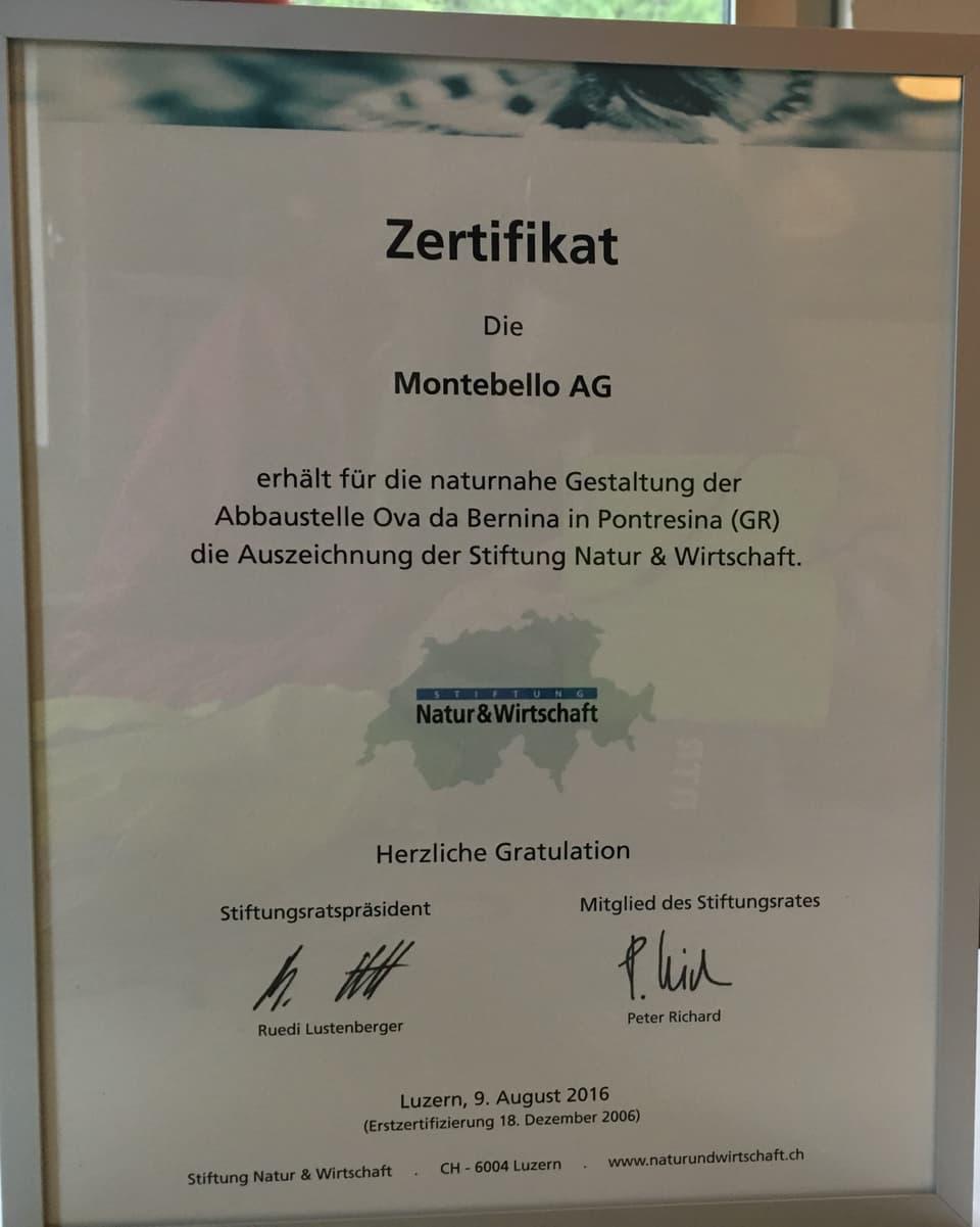 Il certificat per l'interpresa Montebello vala vinavant.