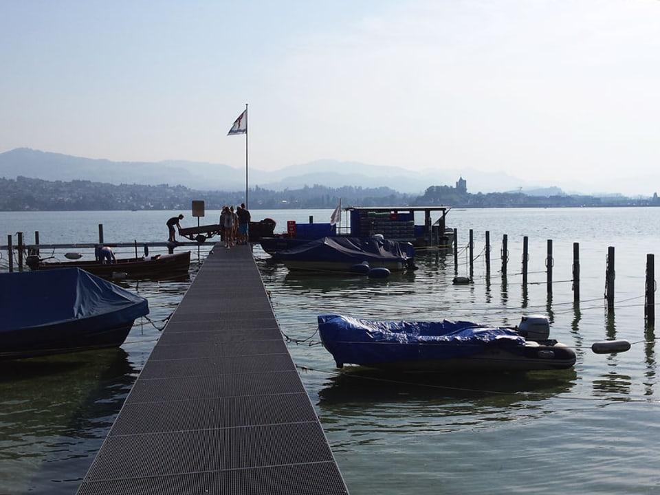 Bootssteg im Wasser, im Hintergrund ist das Festland sichtbar.