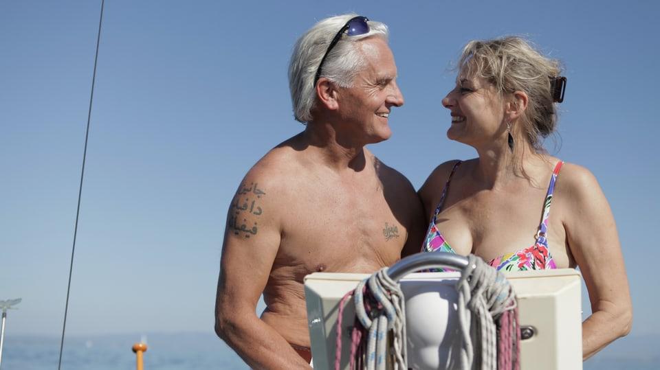 Beat und Sonja auf dem Segelboot eines Bekannten auf dem Bodensee.