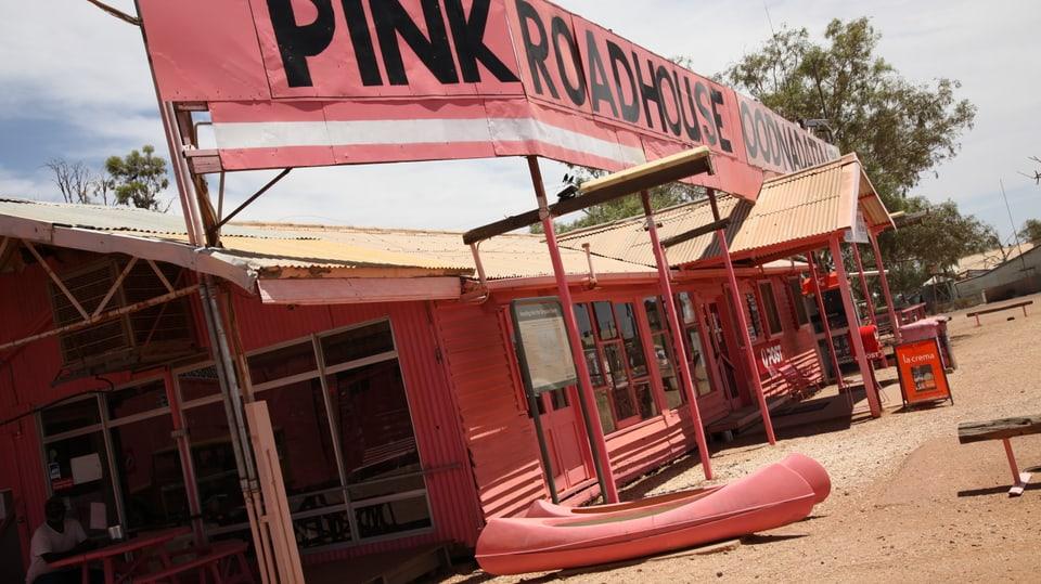 Pink Roadhouse in Oodnadatta.