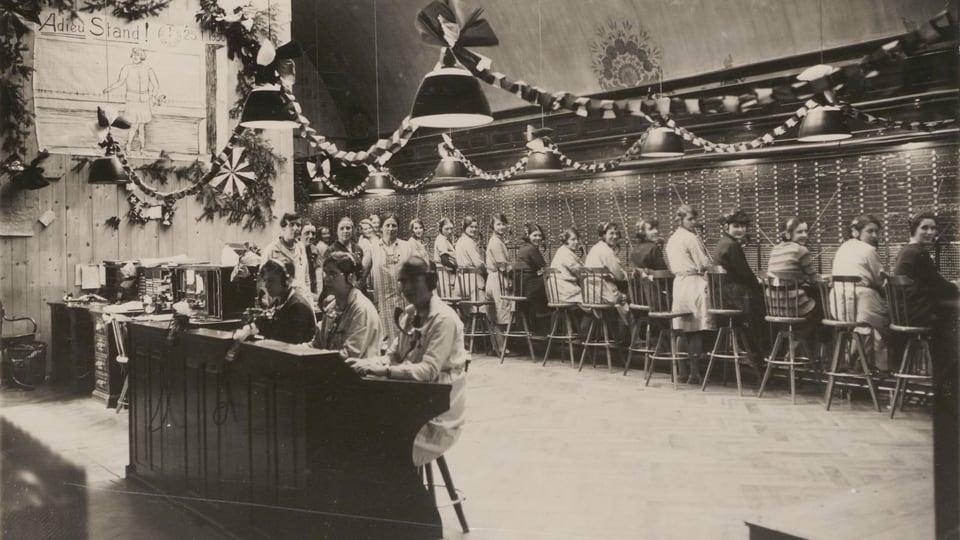 Telefonzentrale in Genf im Jahre 1930