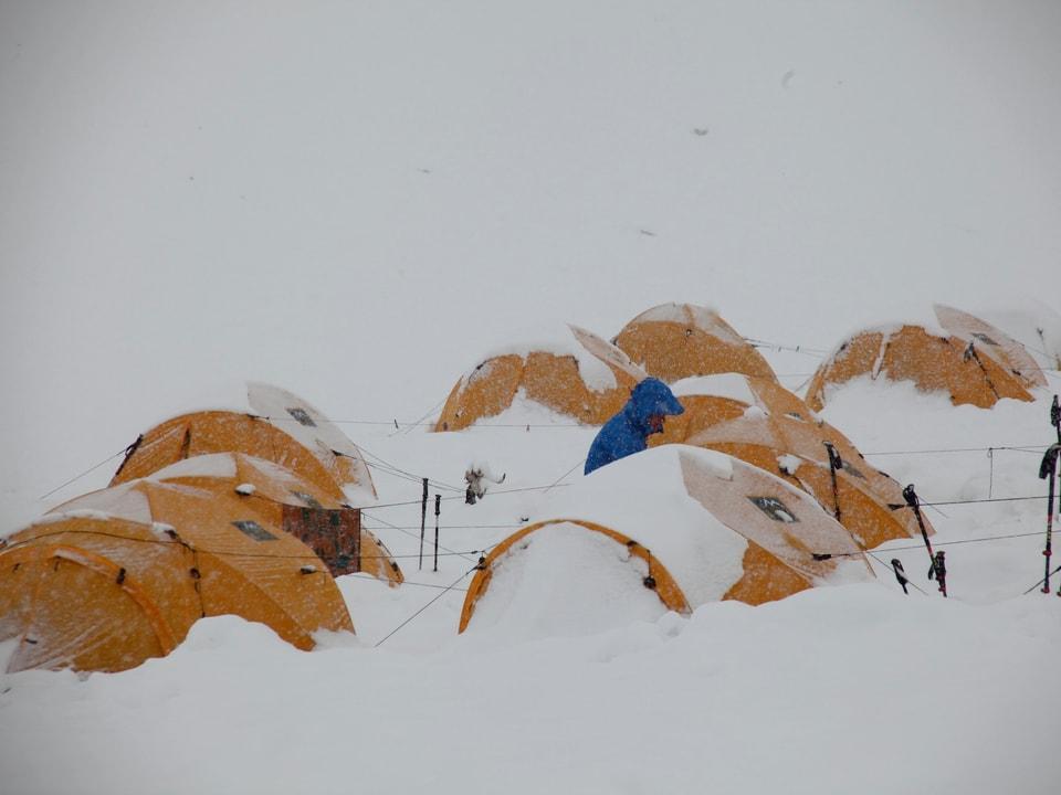 Die gelben Expeditions-Zelte versinken im Schnee.