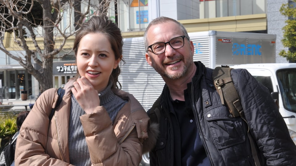 Halbschweizerin und TV-Star Christine Haruka mit Patrick Rohr in einem Park in Tokyo