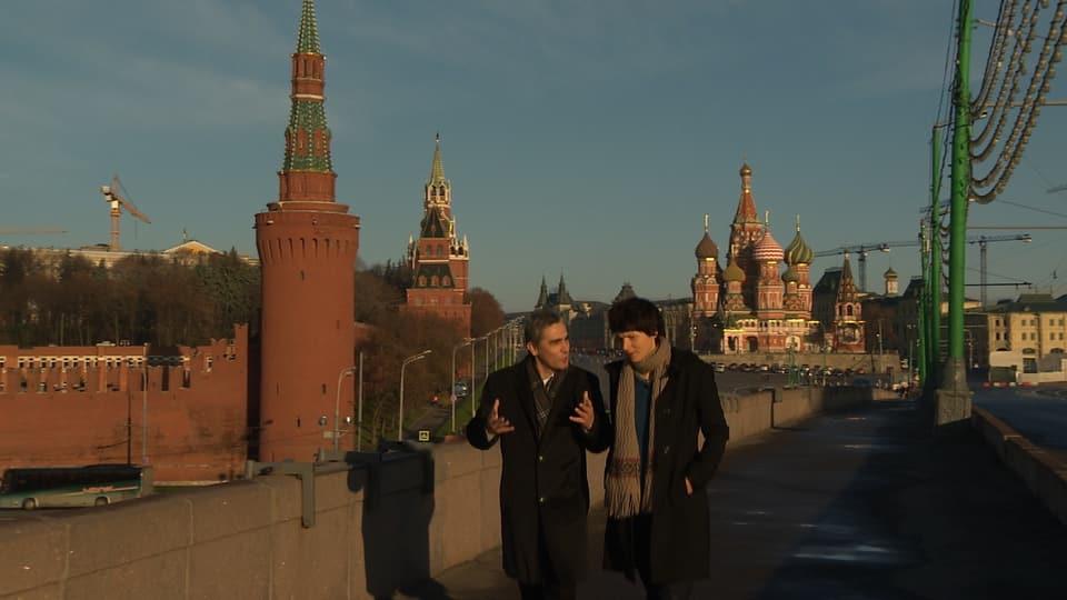 Kathrin Winzenried und Historiker Alexander Vatlin in Moskau
