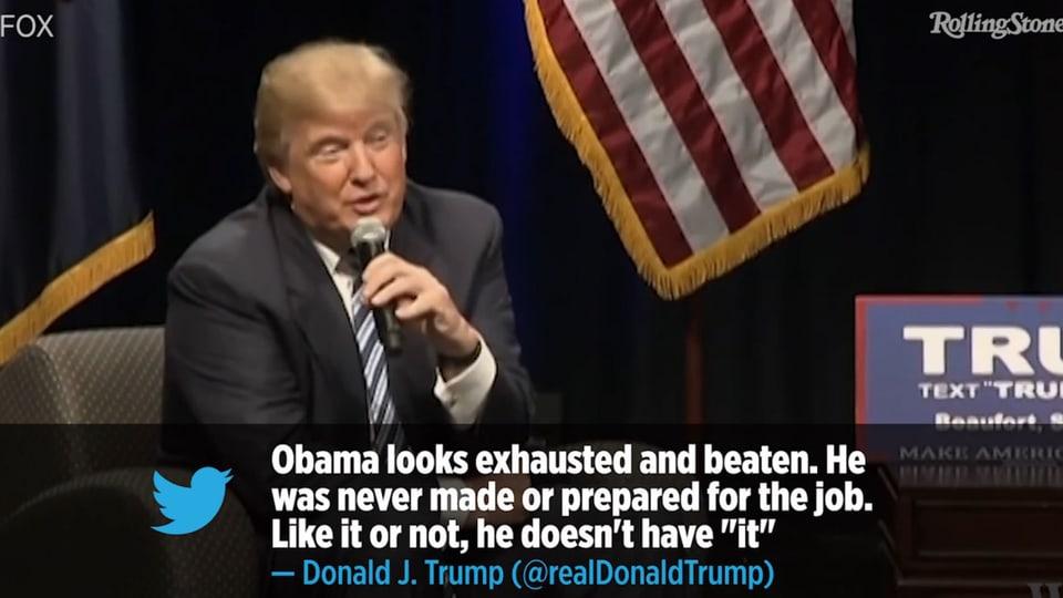 Donald Trump in TV-Studio, eingeblendeter Tweet über Präsident Barack Obama