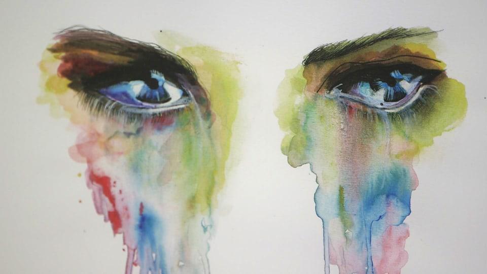 In maletg da l'Artista Andrina Casuff che mussa egls trists.