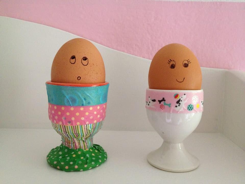 Verzierte Eierbecher.