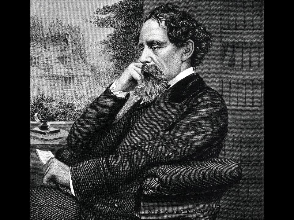 Kupferstich des US-Autors, in einem Sessel sitzend, den Kopf aufgestützt