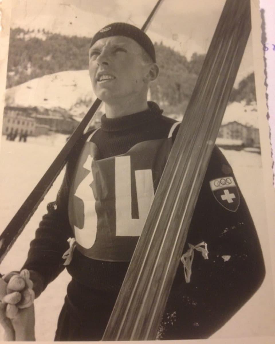Bernhard Willy 1936 mit Wollhose und Wollmütze