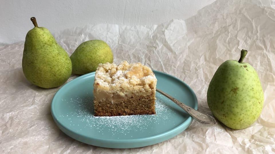 Birnenkuchen mit Crumble