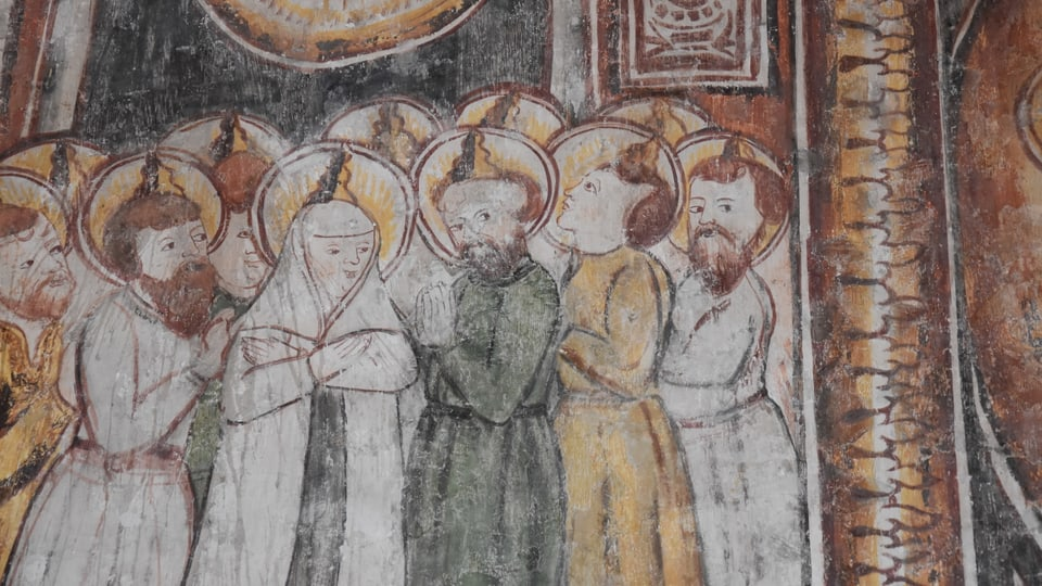 Maletg dals apostels en la baselgia a Tumegl.