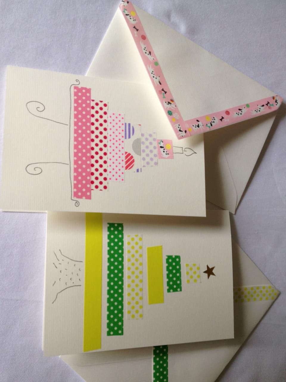 Selbergemachte Geburtstagskarten.