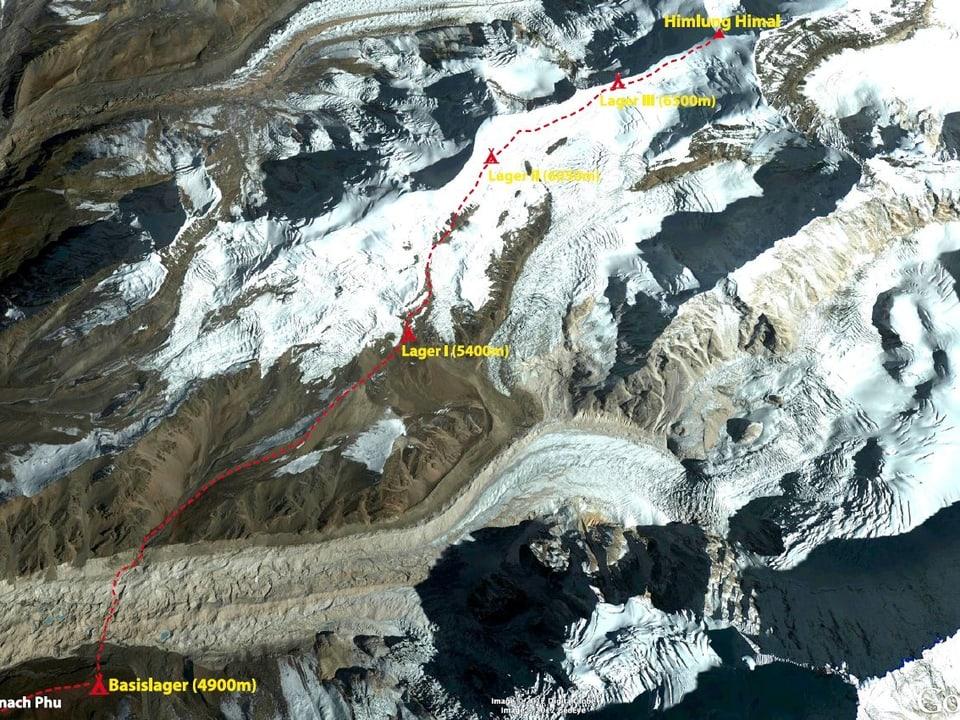 Karte mit den Basislagern der Expedition «Himlung Himal».