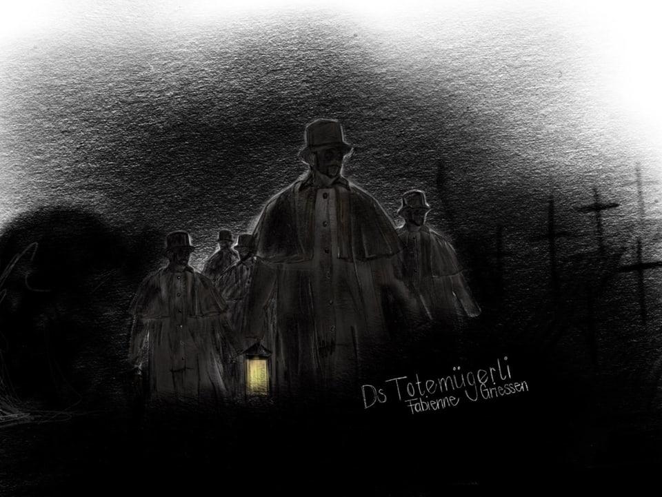 Gezeichnete dunklte Gestalten in der Nacht.