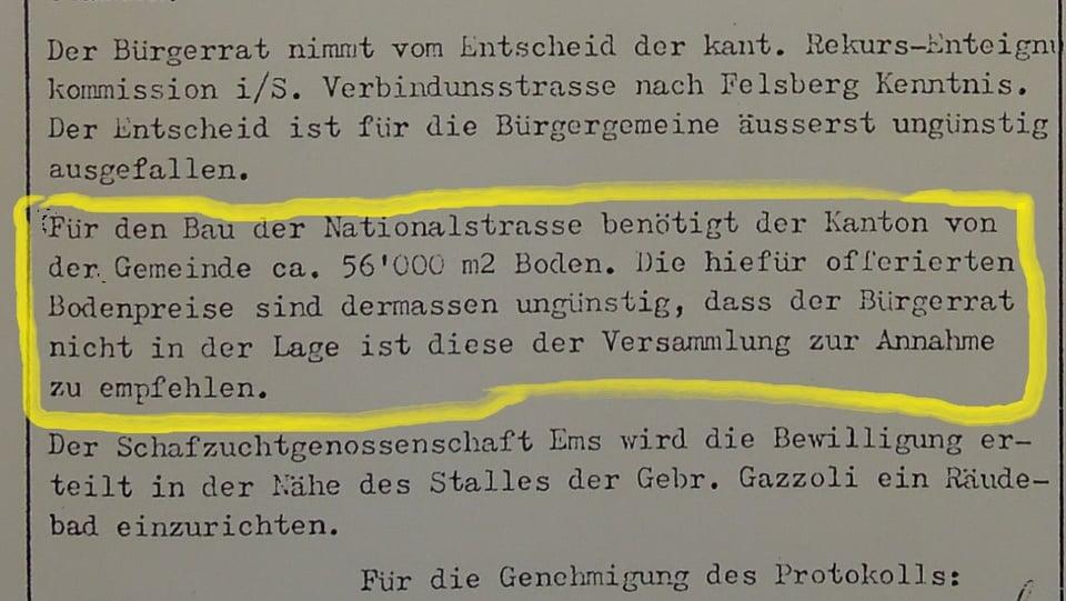 1961 ha la Vischnanca burgaisa vulì dapli raps per il terrain...